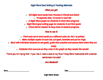 Sight Word Goal and Tracking materials