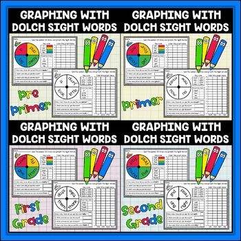 Sight Words Graphing Bundle Dolch Sight Words Print and Go!