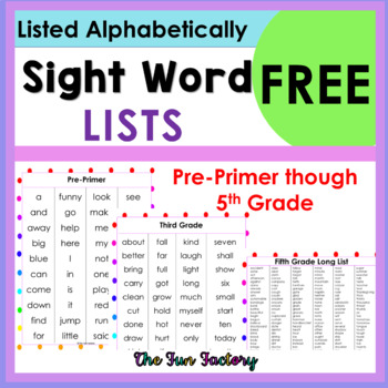 Sight Word (High Frequency Words) Lists ~ Pre-Primer Prime