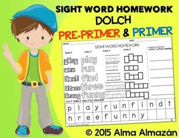 Sight Word Homework - Dolch Pre-Primer & Primer