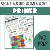 Sight Word Homework- Primer Pack