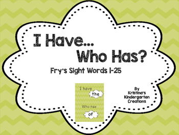 Sight Word 'I Have, Who Has'