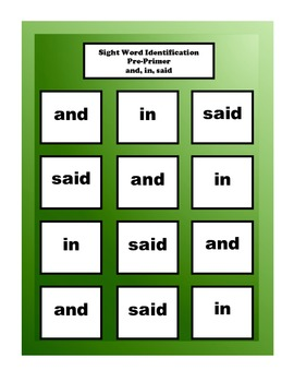 Sight Word Identification Pre-Primer
