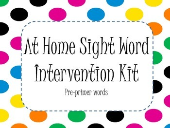 Sight Word Intervention At Home Kit (RTI) - PrePrimer
