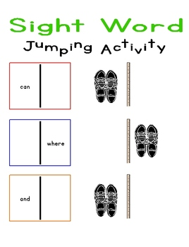 Sight Word Jumping Activity