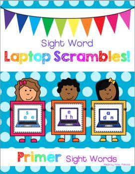 Sight Word Laptop Scrambles - Primer Edition