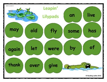 Sight Word Leapin' Lily Pads Game (Dolch Words/First Grade