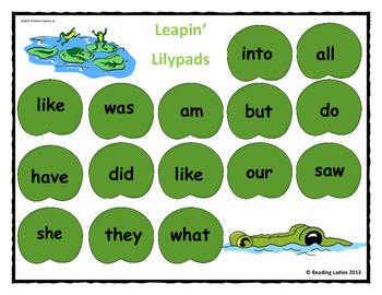 Sight Word Leapin' Lily Pads Game (Dolch Words/Primer Version)