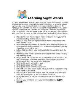 Sight Word Letter to Parents