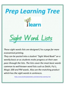 Sight Word Lists in Queensland Font
