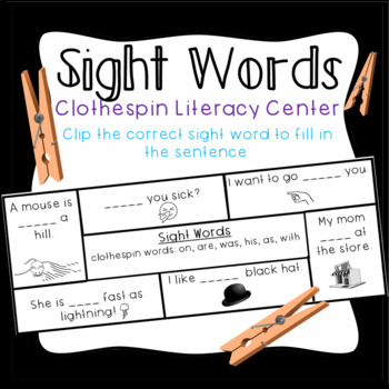 Sight Word Literacy Centers- Clothespin matching