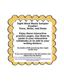 Sight Word Mania Sampler Freebie  Free Sight Words
