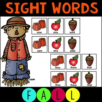 Sight Word Matching Game- Fall Theme