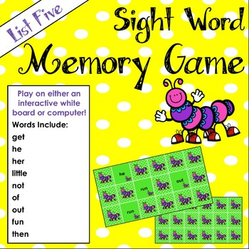 Sight Word Matching Game - White Board or Computer