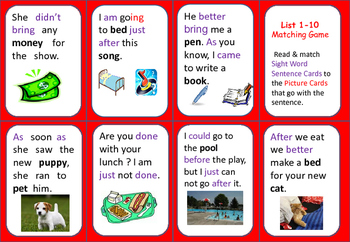 Sight Word Matching Game (set 3) with Student Tracking She