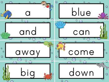 Sight Word Cards: Ocean Themed (Dolch & Fry)