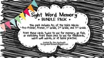 Sight Word Memory: BUNDLE PACK