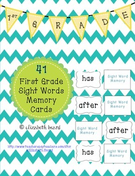 Sight Word Memory Cards: First Grade Dolch Sight Words