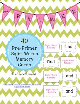 Sight Word Memory Cards: Pre-Primer for Kindergarten and F