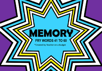 Sight Word Memory Fry Words 41 to 60