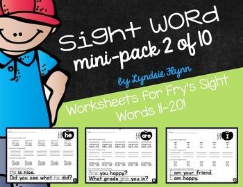 Sight Word Mini-Pack 2 | Fry's Words 11-20 | Homework | Mo