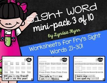 Sight Word Mini-Pack 3 | Fry's Words 21-30 | Homework | Mo