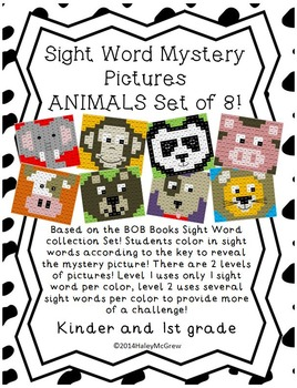 Sight Word Mystery Pictures Animals Zoo Farm Set Pack of 8