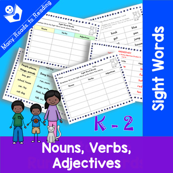 Sight Word Nouns, Verbs, Adjectives: Grades K-2