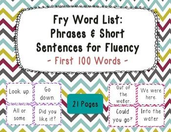 Sight Word Phrases & Short Sentences for Fluency Flash Car