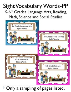 Sight Word Power Points for Language Arts, Math, Social St