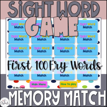 Sight Word PowerPoint Memory Match Game {First 100 Fry Words}