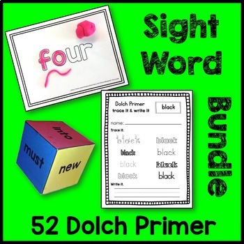 Dolch Primer Sight Word Bundle (Play-Doh Mats, Dice, Traci