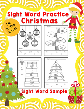 Sight Word Practice Boxes Sample, Christmas