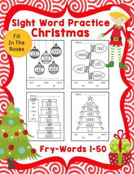 Sight Word Practice Boxes, Fry's First 100, Words 1-50, Christmas