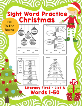 Sight Word Practice Boxes, Literacy First List A, Words 1-