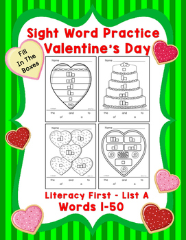 Sight Word Practice Boxes, Literacy First List A Words 1-5