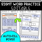 Sight Word Practice EDITABLE (Trace it. Write it. Build it