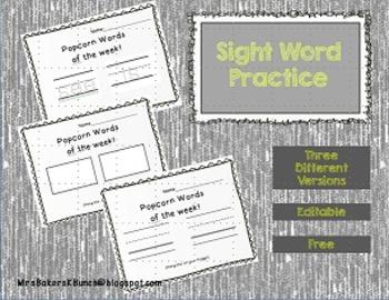 Sight Word Practice Freebie