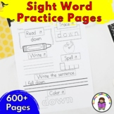Sight Word Worksheets Dolch Bundle