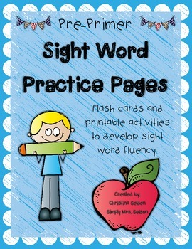 Sight Word Practice Pages: Pre-Primer