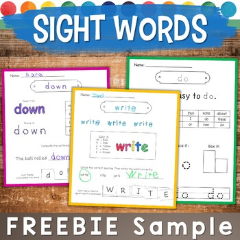 Sight Word Practice Pages SAMPLE FREEBIE: Spell, Trace, Bu