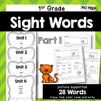 1st Grade Sight Word Practice Part I