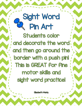 Sight Word Practice-Pin Art
