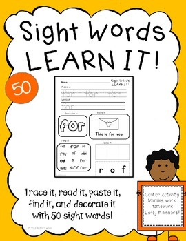 Sight Word Practice Printables- 50 sight words Fountas and