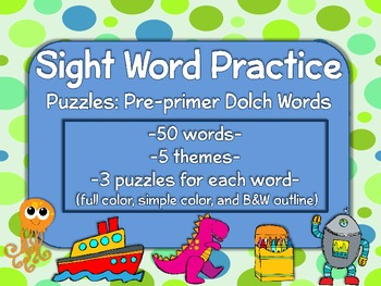 Sight Word Practice Puzzles (ALL  Pre-primer Dolch Sight W