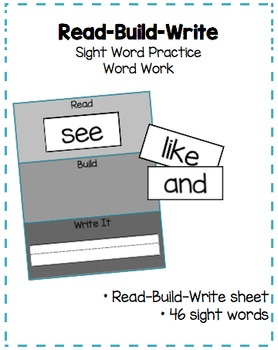 "Sight Word Practice: ""Read-Build-Write"""