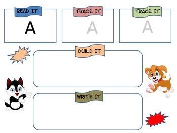 Sight Word Practice- Read, Build, Write (cat/dog theme)