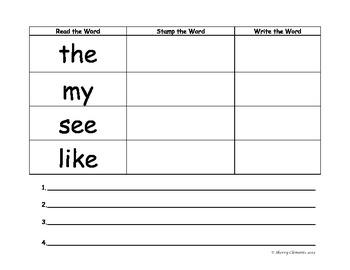 Sight Word Practice: Read, Write, & Stamp (Write Sentences