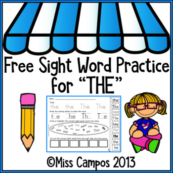 Sight Word Worksheet: THE (free)