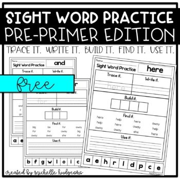 Sight Word Practice PRE-PRIMER (Trace it. Write it. Build